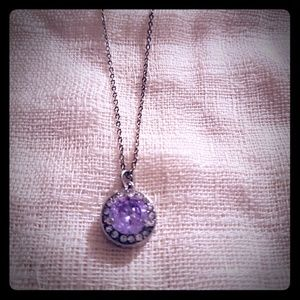 Silver and Light Purple Stone Necklace